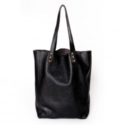 Shopping Bag de cuero vacuno Negro