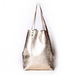 Shopping Bag de cuero vacuno platino
