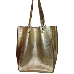 Shopping Bag de cuero vacuno dorado