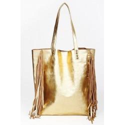 Shopping Bag con flecos de cuero vacuno dorado