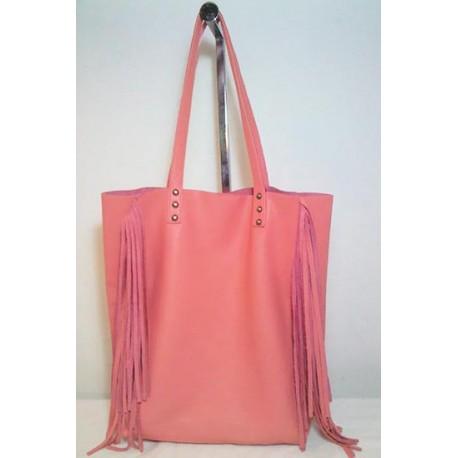 Shopping Bag con flecos de cuero vacuno coral