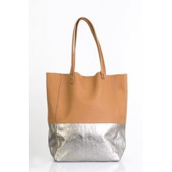 Shopping bag de cuero combinada de cuero vacuno