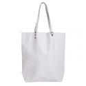 Shopping Bag de cuero vacuno hueso/blanco