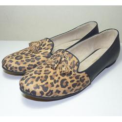 Mocasines de cuero animal print y negro