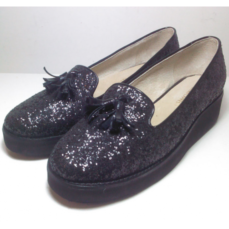 Mocasines de glitter negro