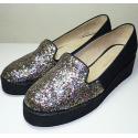 Mocasines de glitter (material actual levemente más fucsia) y loneta