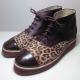 Botas de cuero animal print y marrón (liquidación)