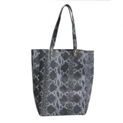 Shopping Bag de cuero boa negro y gris