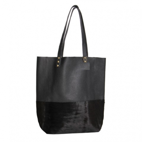 Shopping Bag combinada de cuero vacuno con pelo