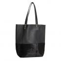 Shopping bag combinada (cuero negro y con pelo)