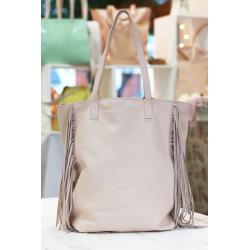 Shopping bag con flecos de cuero