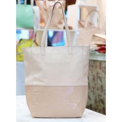 Shopping Bag combinada de cuero vacuno