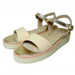 Sandalias de cuero charol beige y sintético dorado
