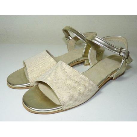 Sandalias de tira ancha y taco cuadrado, de loneta lurex y sintético dorado