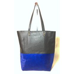 Shopping bag combinada de cuero