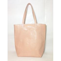 Shopping Bag de cuero charol nude