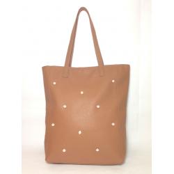 Shopping Bag de cuero con perlas