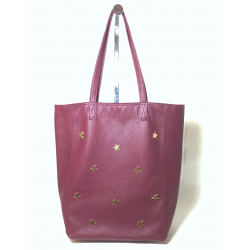 Shopping bag de cuero bordó con estrellas