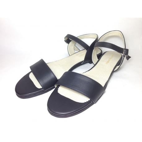 Sandalias de cuero liso negro