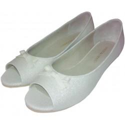 Chatitas de loneta lurex blanca